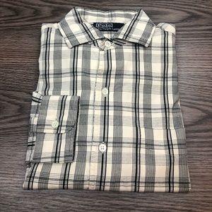 Polo Ralph Lauren Off White & Black Plaid Shirt S